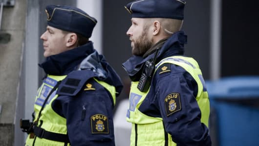 This is a file photo of police officers patrolling in Orebro, Sweden.