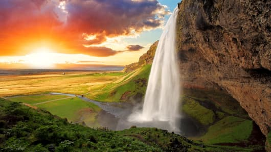 Seljalandsfoss is one of the most beautiful waterfalls on the Iceland.