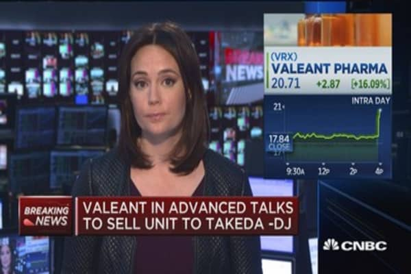 Valeant in advanced talks to sell unit to Takeda -DJ