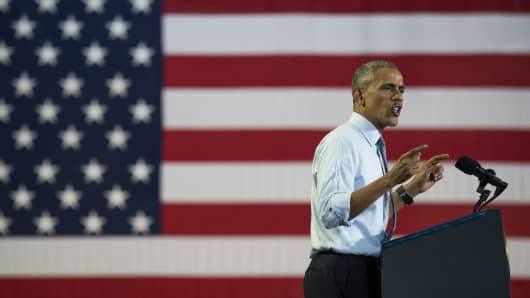 President Barack Obama speaks during a campaign event for Hillary Clinton at Capital University on November 1, 2016 in Columbus, Ohio.