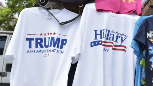 Donald Trump and Hillary Clinton T-shirts on sale.