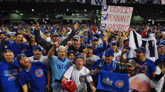 Chicago Cubs fans celebrate after defeating the Cleveland Indians in game seven of the 2016 World Series