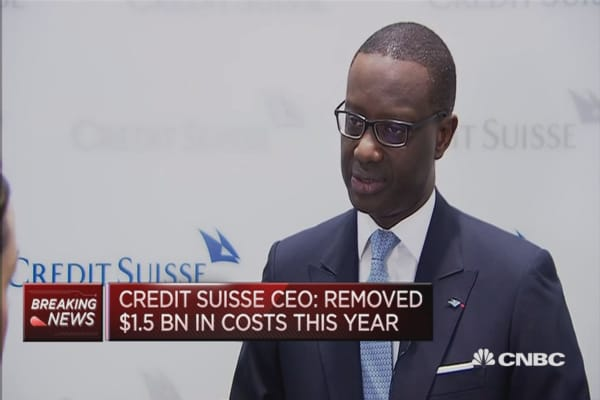 Removed $1.5 billion in costs in 2016: Credit Suisse CEO