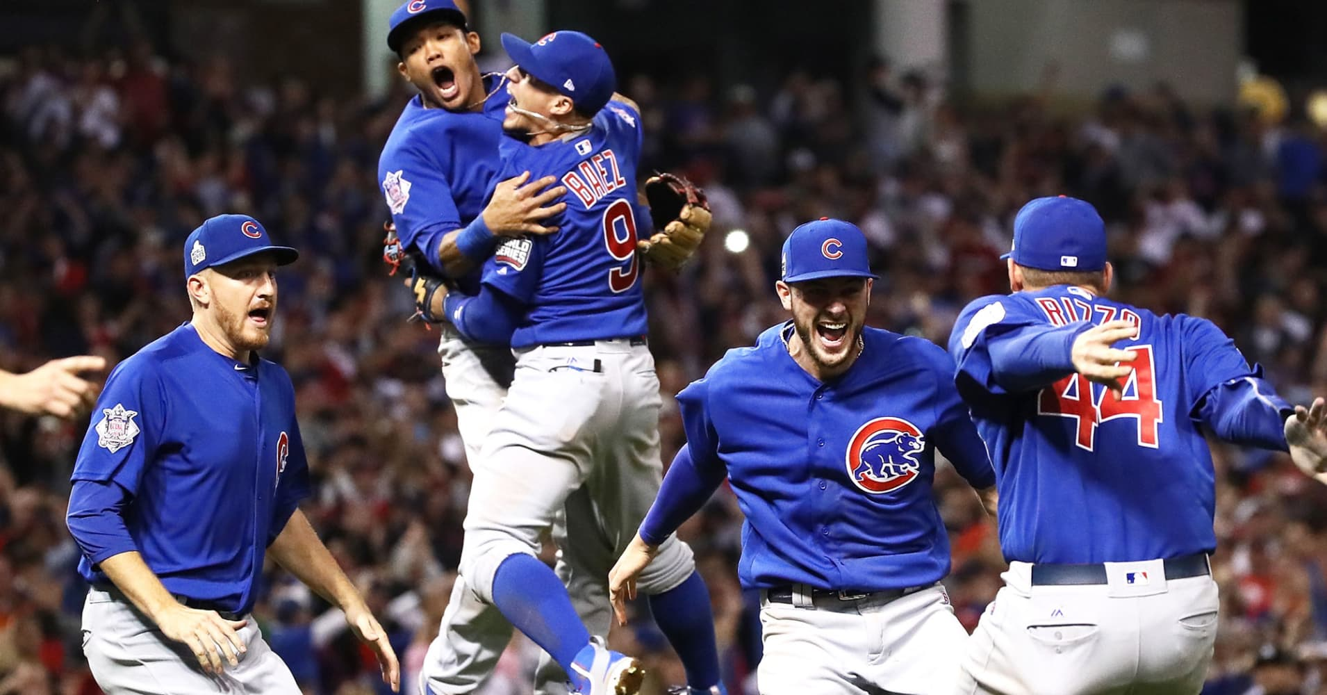 The Chicago Cubs celebrate after winning 8-7 in Game Seven of the 2016 World Series at Progressive Field on November 2, 2016, in Cleveland.