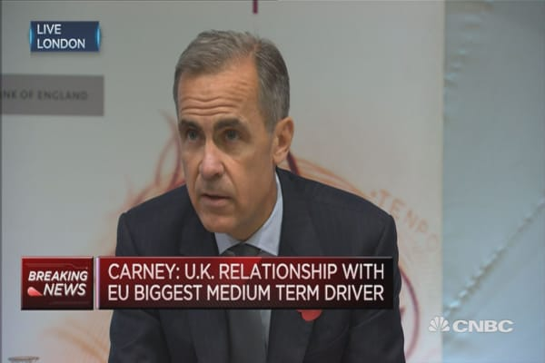 Signs of economic slowdown notably by their absence: BOE's Carney