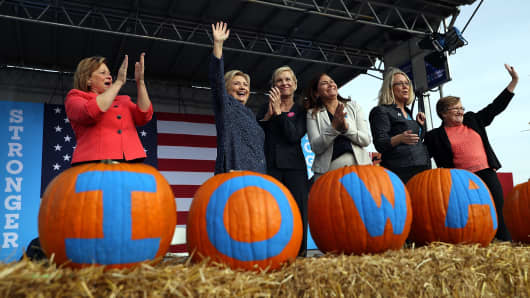 Democratic presidential nominee former Secretary of State Hillary Clinton greets supporters during a campaign rally on October 28, 2016 in Cedar Rapids, Iowa.