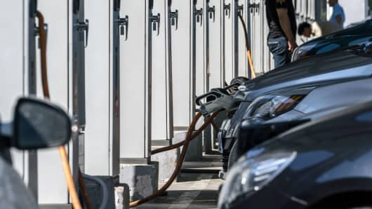 Cars charging in a electric charging station