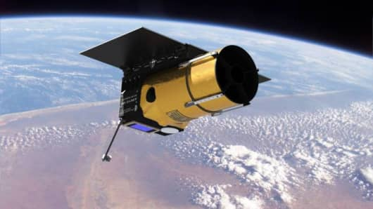 The Arkyd 100 (A100) small satellite used by Planetary Resources to gather compositional data of asteroids during prospecting missions.