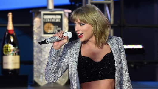 US singer Taylor Swift performs during the annual New Year's Eve celebrations in New York.