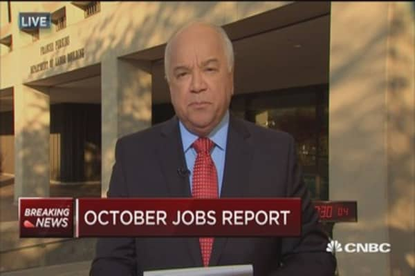 October jobs up 161,000