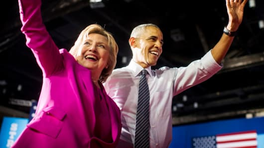 Hillary Clinton and President Barack Obama campaign together at a rally in Charlotte, North Carolina last July.
