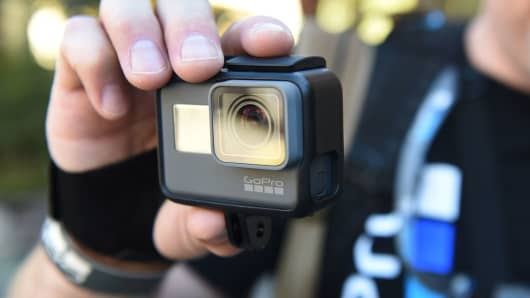 A man tries out a new GoPro HERO5 Black during a press event last September.