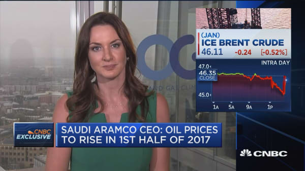 Saudi Aramco CEO: Oil prices to rise in 1st half of 2017