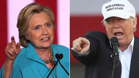 Hillary Clinton, Democratic presidential candidate, and Donald Trump, Republican presidential candidate