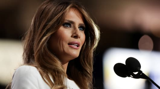Melania Trump delivers a speech on the first day of the Republican National Convention on July 18, 2016 at the Quicken Loans Arena in Cleveland, Ohio.