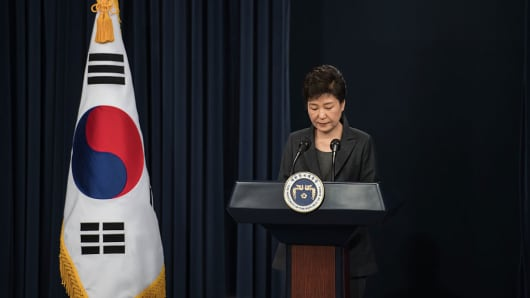 South Korean President Park Geun-Hye delivers an address to the nation on November 4, 2016 in Seoul.