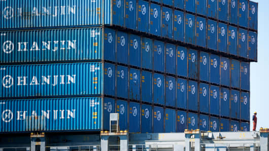 Containers on the Hanjin Gdynia cargo ship berthed at the Port of Long Beach in California on Sept. 15, 2016. Bankrupt Hanjin Shipping's efforts to unload vessels in the U.S. while it goes through bankruptcy in South Korea are meeting with complaints from cargo owners and from the companies that service and equip its fleet.