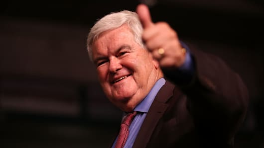 Former Speaker of the House Newt Gingrich gives a thumbs up after speaking before the arrival of Republican presidential candidate Donald Trump during a campaign rally at the Germain Arena on September 19, 2016 in Estero, Florida.