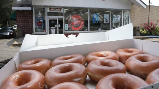 Krispy Kreme Donuts are seen outside of a store on May 09, 2016 in Miami, Florida.