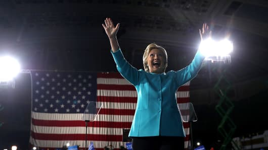 Democratic presidential nominee former Secretary of State Hillary Clinton greets supporters during a campaign rally at the Cleveland Public Auditorium on November 6, 2016 in Cleveland, Ohio.