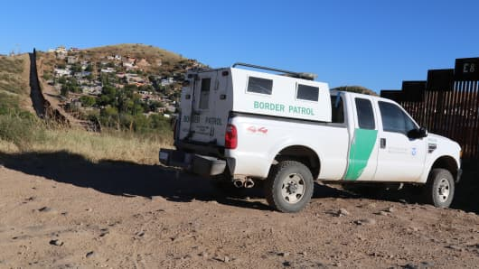 Border patrol along the U.S./Mexico border in Nogales, Arizona.