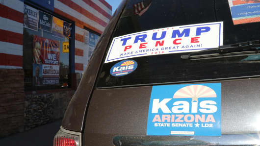GOP bumper stickers and signs in Nogales, Arizona.