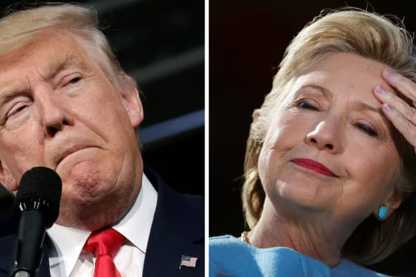 presidential candidates Donald Trump and Hillary Clinton attend campaign rallies in Ambridge, Pennsylvania, October 10, 2016 and Manchester, New Hampshire U.S., October 24, 2016 in a combination of file photos.