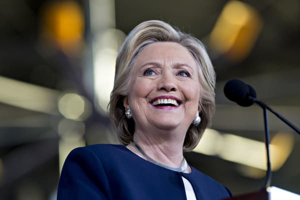 Hillary Clinton, 2016 Democratic presidential nominee, smiles during a campaign event in Detroit, Michigan.