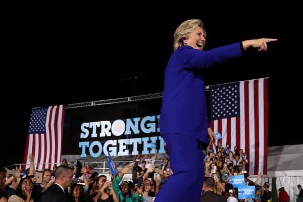 Democratic presidential nominee Hillary Clinton greets supporters during a campaign rally at Arizona State University on November 2, 2016 in Tempe, Arizona.