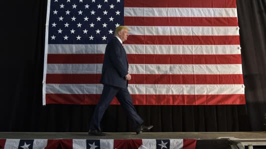 Republican presidential nominee Donald Trump arrives to speak at a rally at the Norris-Penrose Event Center in Colorado Springs, Colorado on October 18, 2016.