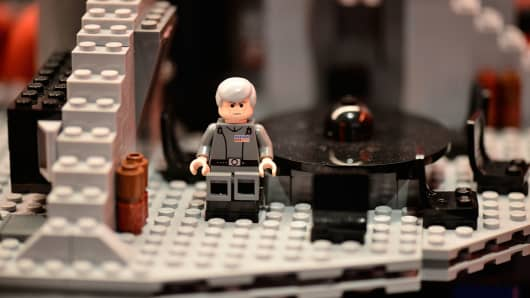 A close-up view of the Lego Star Wars death star at Hamleys Christmas toy photocall.