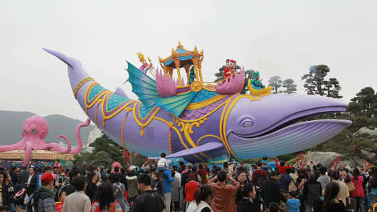 A view of Chimelong Ocean Kingdom in China's Guangdong province.