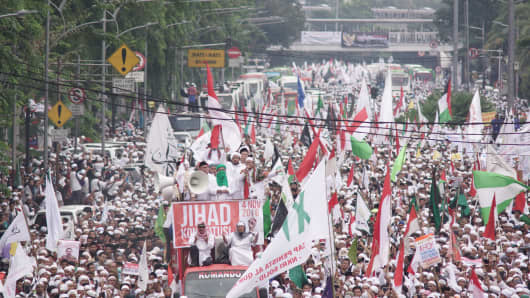 Nov 4, 2016: Thousands protested against Jakarta Governor Basuki Tjahaja Purnama's alleged hate speech at the Presidential Palace. Radical religious group the Islamic Defender Front (FPI) has urged the government to arrest Purnama for religious defamation.
