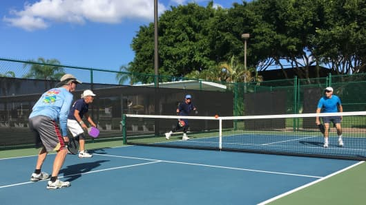 Pickle ball players on Election Day at the Kings Point community in Delray Beach, Fla.