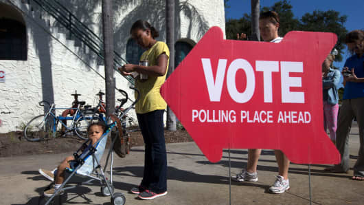Voters head to the polls during the U.S. presidential election in St. Petersburg, Florida, November 8, 2016.