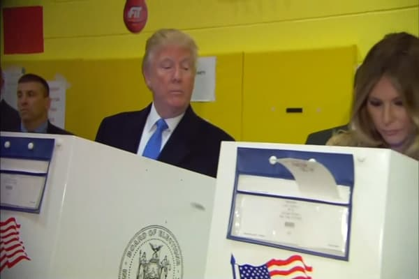 Donald Trump casts his ballot in NYC