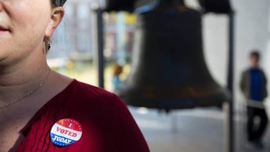 A voter's sticker in front of the Liberty Bell as Americans head to the polls in Philadelphia, Pennsylvania, on election day November 8, 2016.