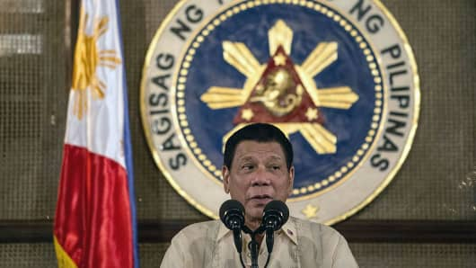Philippine President Rodrigo Duterte gives a speech.
