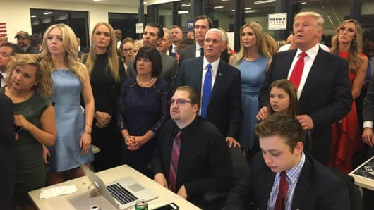 Ivanka Trump tweeted a photo of Donald Trump watching returns come in from their HQ in New York.