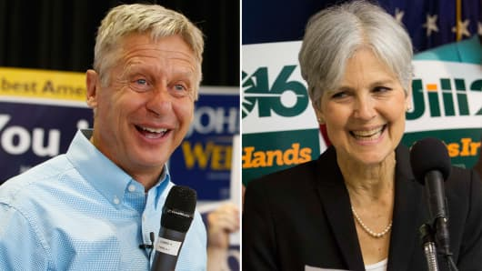 Gary Johnson (l) and Jill Stein (r).
