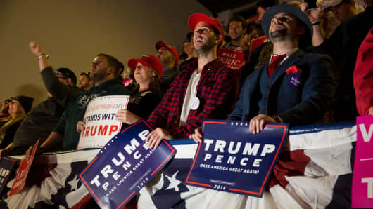 Supporters of Republican presidential nominee Donald Trump listen at a rally at Lackawanna College in Scranton, Pennsylvania, on the final day of campaigning November 7, 2016.
