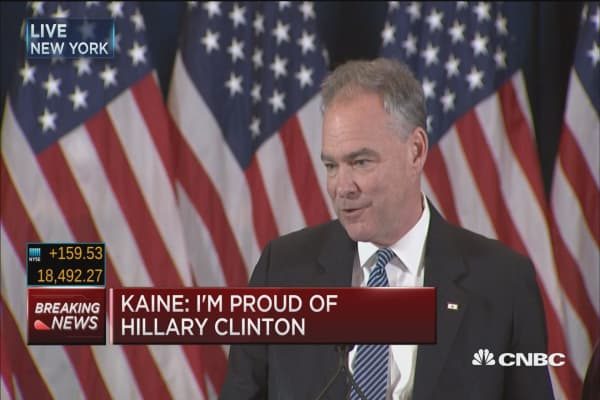 Kaine: Hillary Clinton made history in this campaign