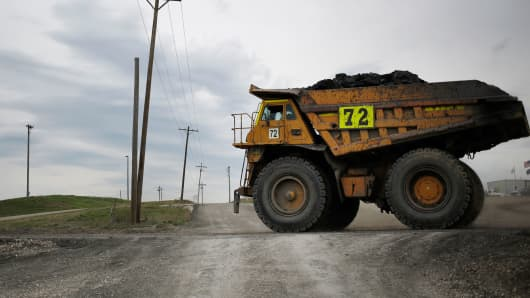 A dump truck moves coal at the Peabody Energy Somerville Central mine in Oakland City, Indiana.