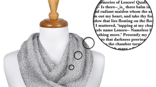 Choose from twelve colors and four beautiful fonts to create your perfect scarf.
