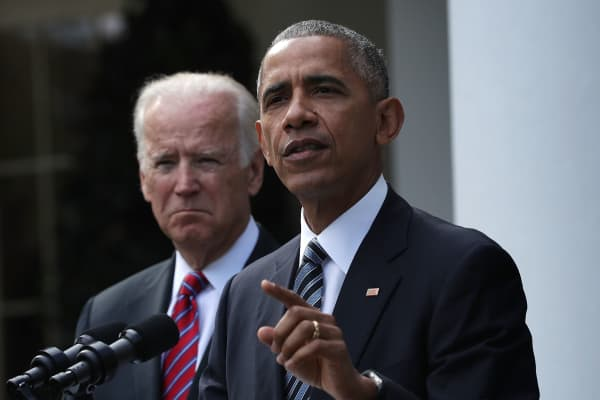 President Barack Obama makes a statement on the election results as Vice President Joseph Biden listens in the Rose Garden at the White House November 9, 2016 in Washington, DC.