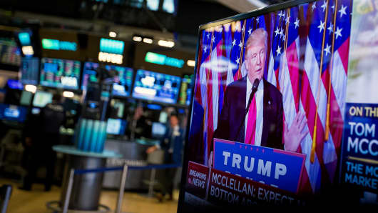 President-elect Donald Trump is seen speaking on a television on the floor of the New York Stock Exchange (NYSE) in New York, U.S., on Wednesday, Nov. 9, 2016.