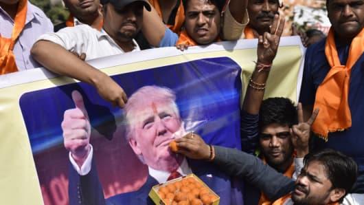 Nov 9, 2016:  Hindu Sena activists celebrate in New Delhi after Donald Trump won the U.S. election