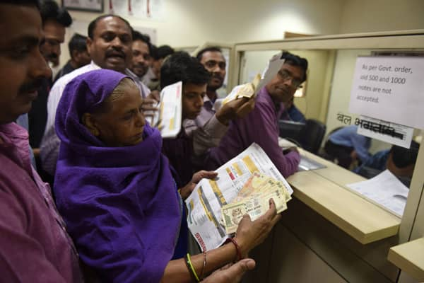 People are upset as the BSES Department refused to accept their Rs 1000 and 500 currency note to pay their electricity bill in Mayur Vihar on November 9, 2016.