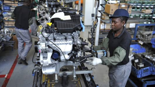 Workers at the Nissan Rosslyn plant in Rosslyn, South Africa.