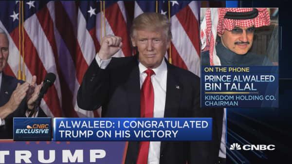 Alwaleed: Conciliatory tone by Trump calmed markets